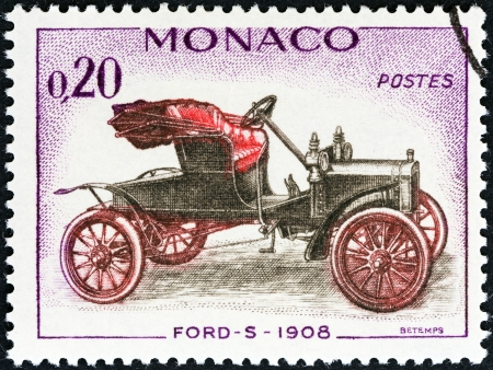 monegasque: MONACO - CIRCA 1961  A stamp printed in Monaco from the  Veteran Cars   issue shows Ford-S, 1908, circa 1961