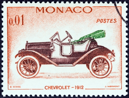 chevrolet: MONACO - CIRCA 1961  A stamp printed in Monaco from the  Veteran Cars   issue shows Chevrolet, 1912, circa 1961