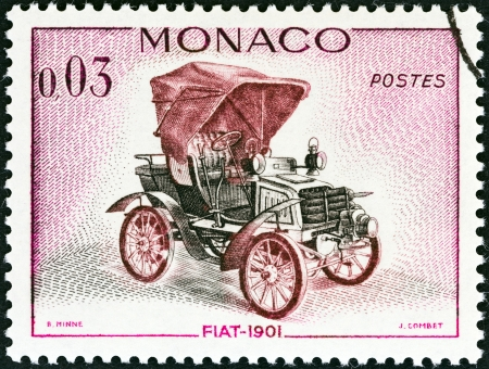 MONACO - CIRCA 1961  A stamp printed in Monaco from the  Veteran Cars   issue shows Fiat, 1901, circa 1961