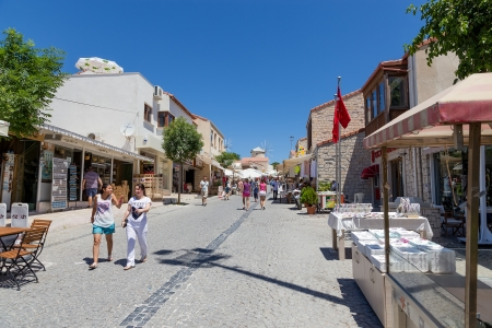 Pedestrian street in Alacati, Izmir province, Turkey