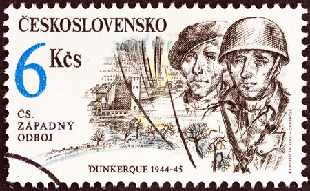 czechoslovak: CZECHOSLOVAKIA - CIRCA 1992  A stamp printed in Czechoslovakia from the  Free Czechoslovak Forces in World War II   issue shows soldiers  Dunkirk, 1944-45 , circa 1992