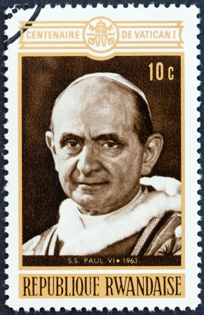 paulus: RWANDA - CIRCA 1970  A stamp printed in Rwanda from the  Centenary of 1st Vatican Council  issue shows Pope Paul VI, circa 1970   Editorial