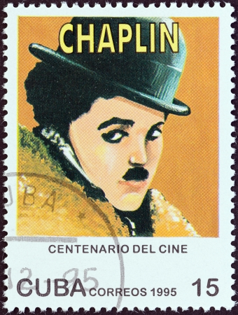 CUBA - CIRCA 1995 A stamp printed in Cuba from the Centenary of Motion Pictures Designs showing film stars issue shows Charlie Chaplin, circa 1995