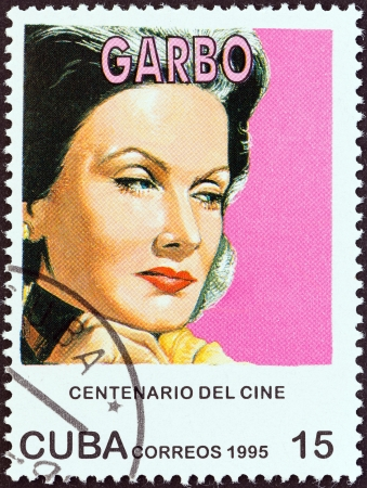 centenary: CUBA - CIRCA 1995  A stamp printed in Cuba from the  Centenary of Motion Pictures  Designs showing film stars  issue shows Greta Garbo, circa 1995