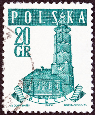 town halls: POLAND - CIRCA 1958  A stamp printed in Poland from the  Ancient Polish Town Halls  issue shows Town Hall, Biecz, circa 1958