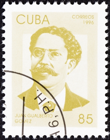 gomez: CUBA - CIRCA 1996  A stamp printed in Cuba from the  Independence Fighters  issue shows Juan Gualberto Gomez, circa 1996