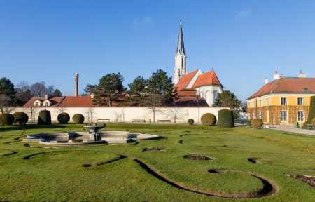 schloss schoenbrunn: Maria Geburt church as seen from Schonbrunn Gardens, Vienna, Austria