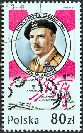 battle plan: POLAND - CIRCA 1989  A stamp printed in Poland issued for the 45th anniversary of battle of Monte Cassino shows Gen  Wladyslaw Anders and plan of battle, circa 1989  Editorial