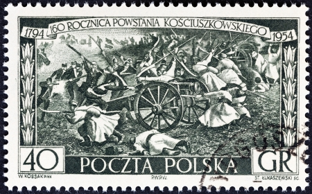 insurrection: POLAND - CIRCA 1954  A stamp printed in Poland from the  160th anniversary of Kosciuszko s Insurrection  issue shows Insurgents Attacking Russians, circa 1954
