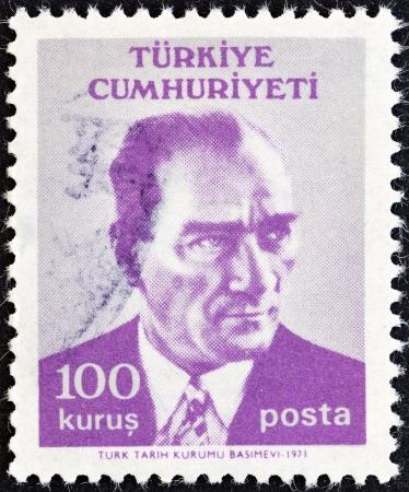 TURKEY - CIRCA 1971  A stamp printed in Turkey shows a portrait of Kemal Ataturk, circa 1971  Editöryel