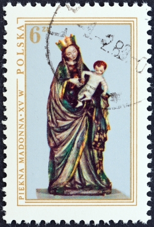 POLAND - CIRCA 1976  A stamp printed in Poland from the  Polish Art  issue shows Madonna and Child  painted carving, 1410 , circa 1976