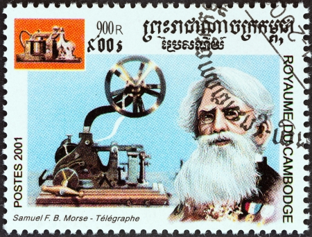 samuel: CAMBODIA - CIRCA 2001  A stamp printed in Cambodia from the  Millennium   issue shows Samuel Morse, telegraph, circa 2001