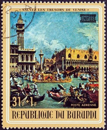 BURUNDI - CIRCA 1971  A stamp printed in Burundi from the  UNESCO  Save Venice Campaign  issue shows Doge s Palace and Piazzetta  by Canaletto , circa 1971
