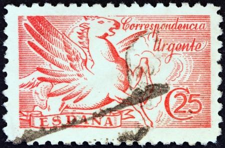 estampilla: SPAIN - CIRCA 1939  A stamp printed in Spain shows Pegasus, circa 1939  Editorial