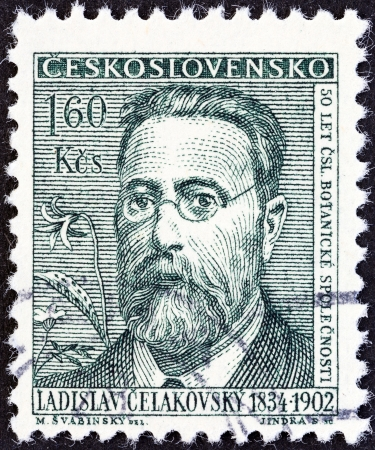 CZECHOSLOVAKIA - CIRCA 1962  A stamp printed in Czechoslovakia from the  Cultural Celebrities and Anniversaries  issue shows Ladislav Celakovsky  founder, Czech Botanical Society , circa 1962