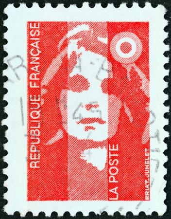 definitive: FRANCIA - CIRCA 1990 Un sello impreso en Francia muestra el tipo Marianne Briat, alrededor de 1990