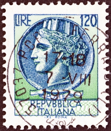 turreted: ITALY - CIRCA 1968  A stamp printed in Italy from the  Italy turreted  Syracuse   issue shows an Ancient coin of Syracuse, circa 1968