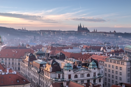 Prague view in the evening, Czech Republic photo