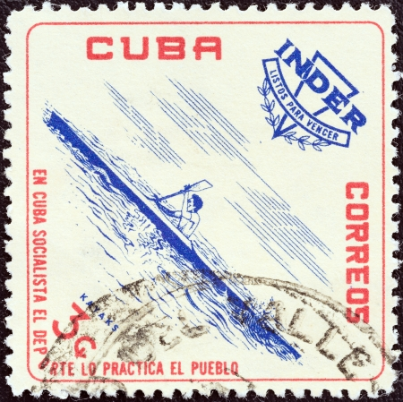 CUBA - CIRCA 1962  A stamp printed in Cuba from the  National Sports Institute  I N D E R    issue shows Kayak, circa 1962