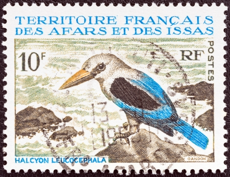 somalis: FRENCH TERRITORY OF AFARS AND ISSAS - CIRCA 1967  A stamp printed in France from the  Fauna  issue shows a Grey-headed Kingfisher  Halcyon leucocephala  bird, circa 1967   Editorial