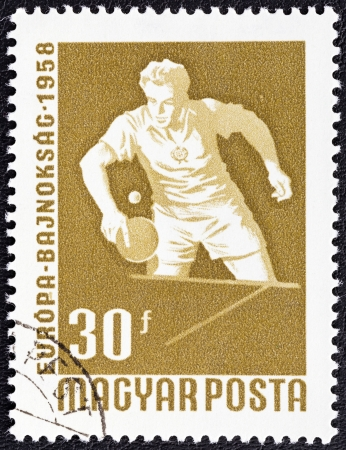 HUNGARY - CIRCA 1958  A stamp printed in Hungary from the  European Table Tennis, Swimming and World Wrestling Championships, Budapest  issue shows Table Tennis player, circa 1958