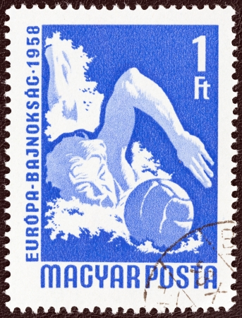 HUNGARY - CIRCA 1958  A stamp printed in Hungary from the  European Table Tennis, Swimming and World Wrestling Championships, Budapest  issue shows water polo player, circa 1958