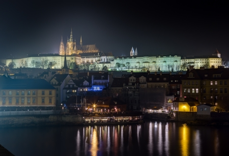 Prague castle at night, Czech Republic  photo
