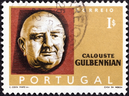 philanthropist: PORTUGAL - CIRCA 1965  A stamp printed in Portugal issued for the 10th death anniversary of Calouste Gulbenkian shows oil industry pioneer and philanthropist Calouste Gulbenkian, circa 1965