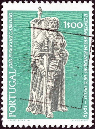 colonizer: PORTUGAL - CIRCA 1969  A stamp printed in Portugal from the  Bicentenary of San Diego, California  issue shows navigator and colonizer Juan Rodriguez Cabrillo, circa 1969