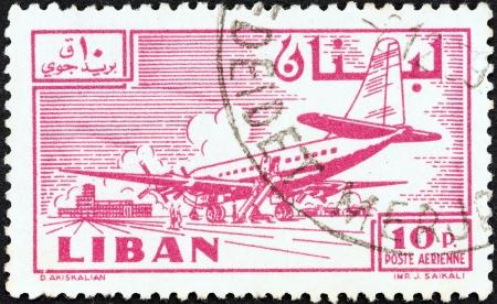 beirut: LEBANON - CIRCA 1959  A stamp printed in Lebanon shows Douglas DC-6B at Khalde airport, circa 1959