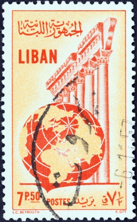 heliopolis: LEBANON - CIRCA 1955  A stamp printed in Lebanon shows Temple of Jupiter, Baalbek and globe, circa 1955