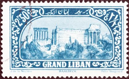LEBANON - CIRCA 1925  A stamp printed in Lebanon shows Roman ruins, Baalbek, circa 1925   Editorial
