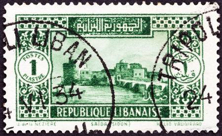 libani: LEBANON - CIRCA 1930  A stamp printed in Lebanon shows Sidon, Sea Castle, circa 1930   Editorial