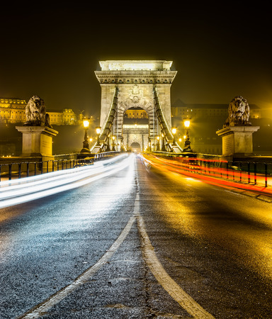 Chain bridge at night, Budapest, Hungary photo