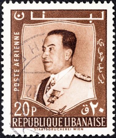 libani: LEBANON - CIRCA 1960  A stamp printed in Lebanon shows President Fuad Chehab, circa 1960