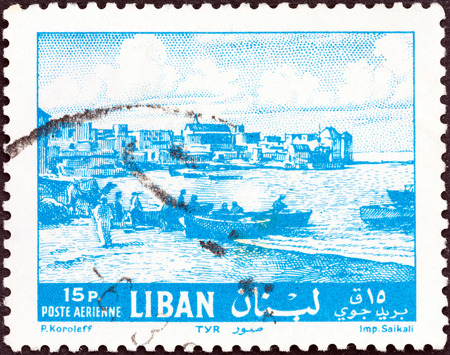 tyr: LEBANON - CIRCA 1961  A stamp printed in Lebanon shows Tyre waterfront, circa 1961
