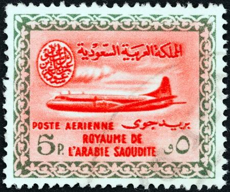 vickers: SAUDI ARABIA - CIRCA 1960  A stamp printed in Saudi Arabia shows a Vickers Viscount 800 airplane, circa 1960   Editorial