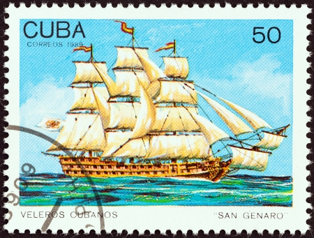 stempel: CUBA - CIRCA 1989  A stamp printed in Cuba from the  Cuban Sailing Ships   issue shows San Genaro  ship of the line , circa 1989   Editorial
