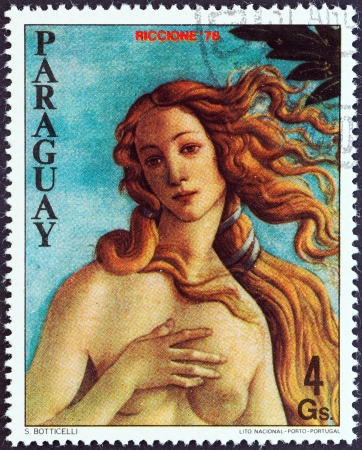 PARAGUAY - CIRCA 1978  A stamp printed in Paraguay shows The Birth of Venus by Sandro Botticelli, circa 1978   Editorial