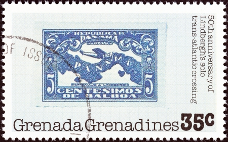 GRENADINES OF GRENADA - CIRCA 1978  A stamp printed in Grenada from the  50th anniversary of Lindbergh solo trans-Atlantic crossing  issue shows Panamanian stamp, 1928, circa 1978