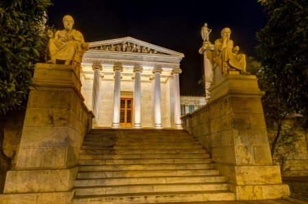 plato: Academy of Athens at night, Greece