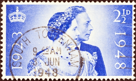 UNITED KINGDOM - CIRCA 1948  A stamp printed in United Kingdom issued for the Royal Silver Wedding shows King George VI and Queen Elizabeth, circa 1948