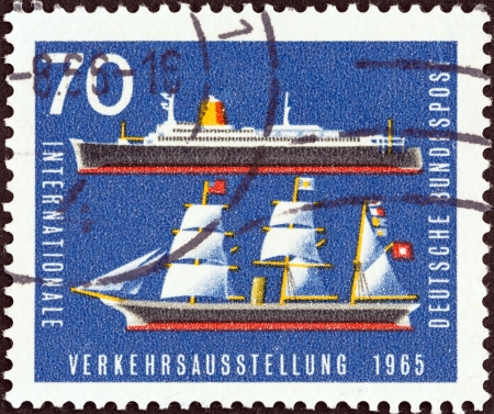 bundespost: GERMANY - CIRCA 1965  A stamp printed in Germany from the  International Transport Exhibition, Munich  issue shows Bremen  liner  and Hammonia  19th-century steamship , circa 1965