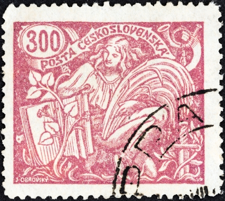 posthorn: CZECHOSLOVAKIA - CIRCA 1920  A stamp printed in Czechoslovakia shows Agriculture and Science, circa 1920
