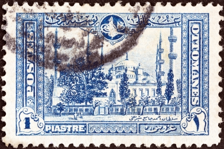 TURKEY - CIRCA 1914  A stamp printed in Turkey shows the Blue Mosque, circa 1914