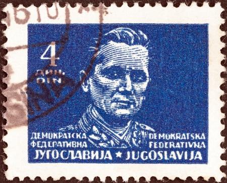YUGOSLAVIA - CIRCA 1945  A stamp printed in Yugoslavia shows Marshal Tito, circa 1945   Editorial