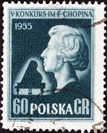 fryderyk chopin: POLAND - CIRCA 1955  A stamp printed in Poland from the  5th International Chopin Piano Competition  2nd issue shows Bust of Chopin  after L  Isler , circa 1955