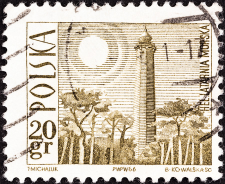 POLAND - CIRCA 1966  A stamp printed in Poland shows Hel Lighthouse, circa 1966