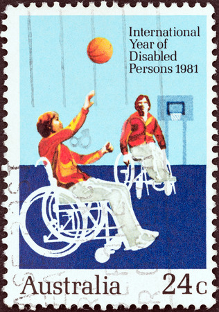 international basketball: AUSTRALIA - CIRCA 1981  A stamp printed in Australia issued for the International Year of the Disabled shows Wheelchair basketball game, circa 1981   Editorial