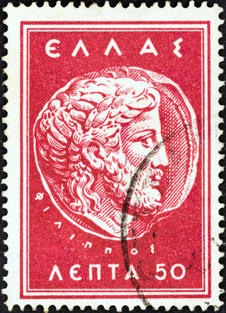 GREECE - CIRCA 1956  A stamp printed in Greece from the  Macedonian Cultural Fund  issue shows Zeus  Macedonian Coin of Philip II , circa 1956